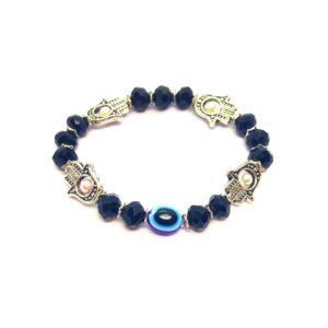 Turkish Eye with Hamza Hand & Black Bead Bracelet 16.5cm
